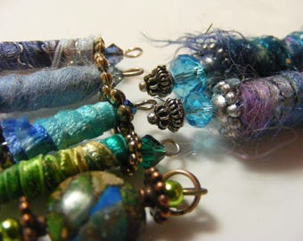 Dangles, charms, embellishments. Blue green set.