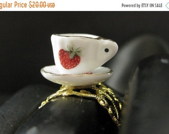 SUMMER SALE Strawberry Teacup Ring. Porcelain Tea Cup Ring. Gold Filigree Adjustable Ring. Handmade Jewelry.