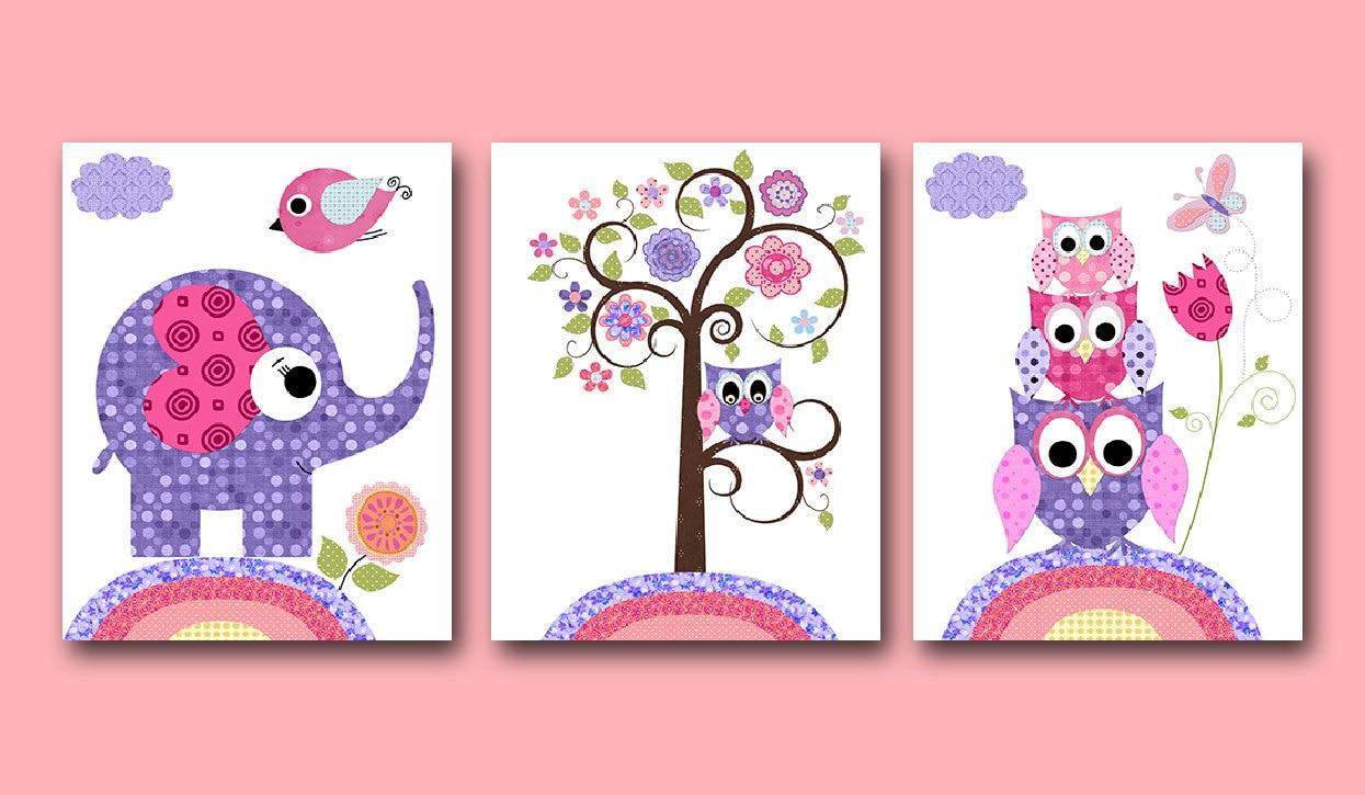 Curtains For Baby Girl Nursery: Owl Decor Owl Nursery Baby Girl Nursery Art Nursery Wall Art