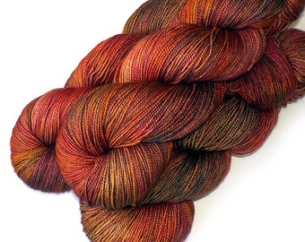 600 Yards Hand Dyed Yarn Merino and Silk Fingering Yarn - Copper Beech, 600 yards/150 grams