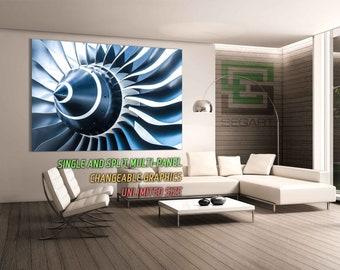 Jet turbine Aircraft engine Home Wall Decor Art Canvas Print Large Canvas Print Canvas Alternative Split art Wall Art Wall Poster Canvas Art