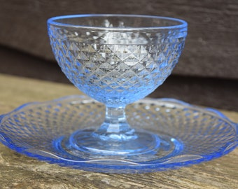 "IKEA ""Vintage Style"" Set of 4 Italy Lavorazine Blue Diamond Cut Desert and Plate"