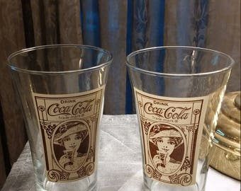 Vintage Coca Cola Flair Glasses - Set of 2     *****Ships Free*****