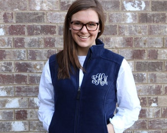 Monogram Fleece Women's Vest- 9 color options- monogram included Full Zip