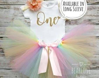 Rainbow Tutu Birthday Outfit | 1st Birthday Girl Outfit | Rainbow Birthday Shirt | Cake Smash Outfit | Photo Prop | Unicorn Birthday Dress