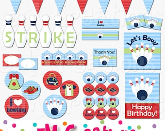 Bowling Birthday Party Printable Package - Bowling Party Decorations - Retro Bowling Banner Cupcake Toppers - blue red Instant Download Pdf