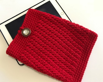 iPad Air cover, iPad cozy, tablet cover, red iPad cover, crochet bag, red cozy, iPad sleeve, red cover