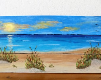 Beach acrylic painting on reclaimed wood