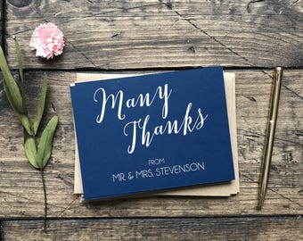 Wedding Thank You Cards. Wedding Gift For Bride. Wedding Stationery. Navy and Blush Wedding. Custom Thank You Notecards