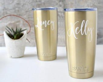 Coffee Tumbler SWIG Bridesmaid Gift, Gold, Wine Tumbler, Bachelorette Gift, Custom Personalized Monogrammed Tumbler, Personalized Christmas