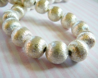 Sterling Silver Bead, 1 Large Bead, 10mm, Brushed