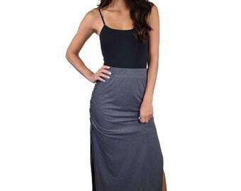 High waist side slit maxi skirt