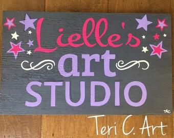 Custom Name sign for girls, Lielle's Art Studio, Art Studio sign for kid's room