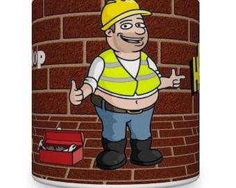 50th Birthday Builder Mug. Mug for Builder. plumber mugs. Mugs for plumbers. Electricians Mugs. Brickie Mugs. Mugs for Brickies.