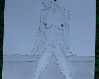 "nude drawing erotic ""Wall"" ink washes and China"