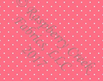 Salmon and White Pin Polka Dot 4 Way Stretch FRENCH TERRY Knit Fabric, Club Fabrics