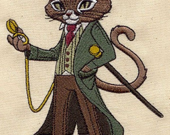 Fancy Felix Steampunk Cat Embroidered Flour Sack Hand/Dish Towel