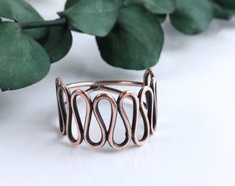 Big Copper Ribbon Ring