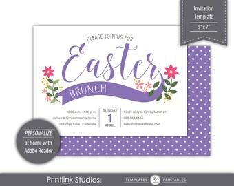 Banner Bouquet Easter Brunch | Dinner Invitation Template - Printable ---  SKU# H351-I
