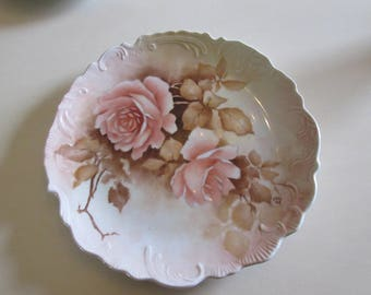HAND PAINTED ROSE Plate