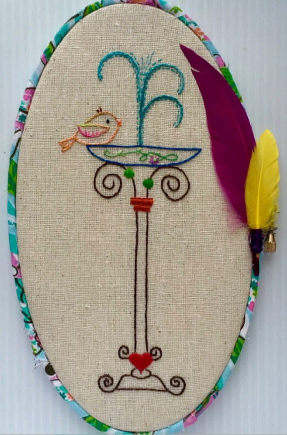 Bird Bath Hand Embroidered Hoop Art, Whimsical, Hand Embroidered