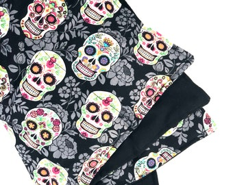 Sugar Skull Black / Stomach Heating Pad / Weighted Blanket Lap / Hot Cold Pack / Microwavable Rice Flaxseed Bag