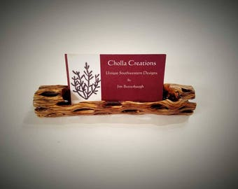 Cholla Cactus Wood Business Card Holder Small