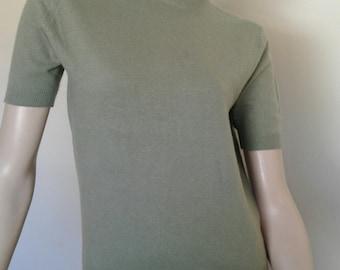 Vintage  50's/60's Sweater/Short Sleeve Cashmere/Pringle of Scotland/Sage Green/1950's Rockabilly VLV Pinup Sweater Girl//1960's/Sz Medium