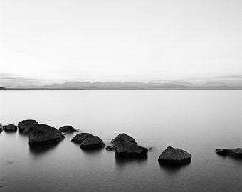 "Grant Brittain 18X24 Inch Black and White Fine Art Photograph - ""Zen Lake"" - Landscape Photograph"