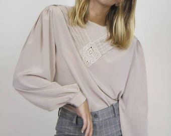 Mauve Pleat Detail Blouse