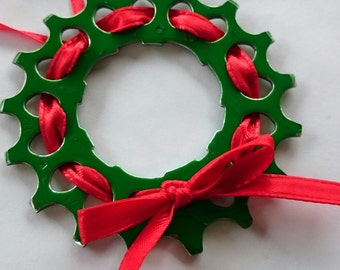 Bicycle Ornament. Cassette Cog Wreath. Hade Made From Recycled Bicycle Chain. Free Shipping!! Great gift for a cyclist!