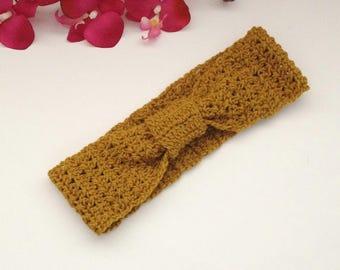 boho knot bow headwrap, crochet/knitted woman's girls turban headband, knitted knot headband, twisted headband, mustard ear warmer,