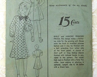 """30s Girls' and Juniors' Princess Frock Advance Sewing Pattern 1230. Size 8 yrs, Bust 26"""""""