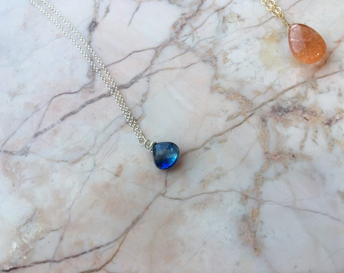 Blue Kyanite and Sterling Silver Littles Necklace Healing Chakra Energy Gemstones Inspirational Gift
