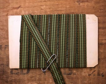 3/8 Inch Moss, Olive Green, and Brown Gingham Checked Taffeta Ribbon Trim (1yrd.) T34