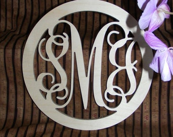 "24"" Inch Large Wooden Vine Connected Monogram Letters with border, Unfinished,Unpainted"