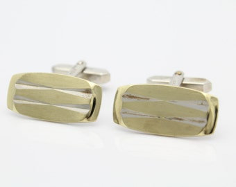 Vintage 835 Silver Two Tone Abstract Rectangle Cufflinks European. [4291]