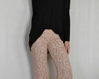 SALE Lace Flare Pants in Champagne