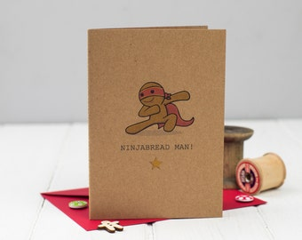 Ninjabread Man Christmas Card - Gingerbread Man Card - Gingerbread Man Christmas Card - Funny Christmas Card