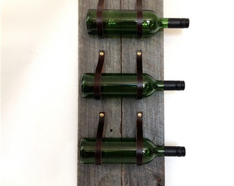 Wine Rack with reclaimed wood and recycled leather 3 Bottle wall bottle holder MWR59