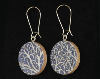 Lung Tissue Anatomy Biology Purple Handmade Recycled Paper Earrings