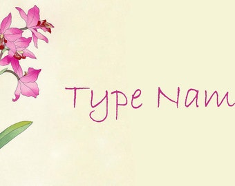 Pink Orchids Place Card Template