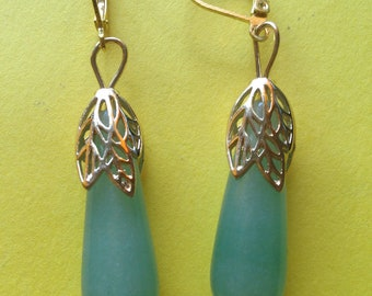 handmade gold plated and aventurine earrings