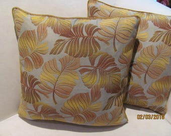 Pair Kravet Brocade Pillow Covers with Velvet Cording