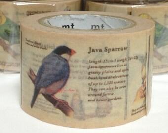 Birds Japanese Washi Tape Masking Tape Paper Tape Birds, Budgerigar, Java Sparrow, Sun Parakeet, Cockatiel, Cuban Emerald, Gouldian Finch