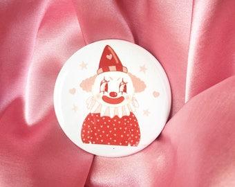 """Cute Clown -  2.25"""" Button Pin Badge"""