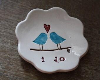 Love Bird Ceramic Ring Bowl Ring Dish Jewelry Dish Wedding Gift Engagement Gift Trinket Dish Love Birds I Do