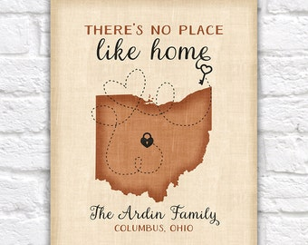 Choose Any Map, Ohio State, There is no place like home - Custom map art, Personalized gifts, Skeleton Key, Housewarming, Brown Rustic Tan