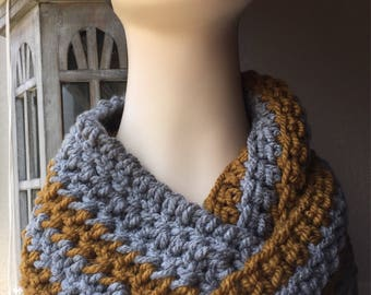 Grey and Gold Infinity Scarf