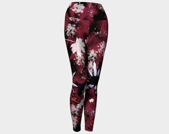 Unique Printed Leggings Red Floral Leggings Art Leggings Tight Leggings Womens Leggings And Tights Yoga Pants Artsy Yoga Clothing Ladies